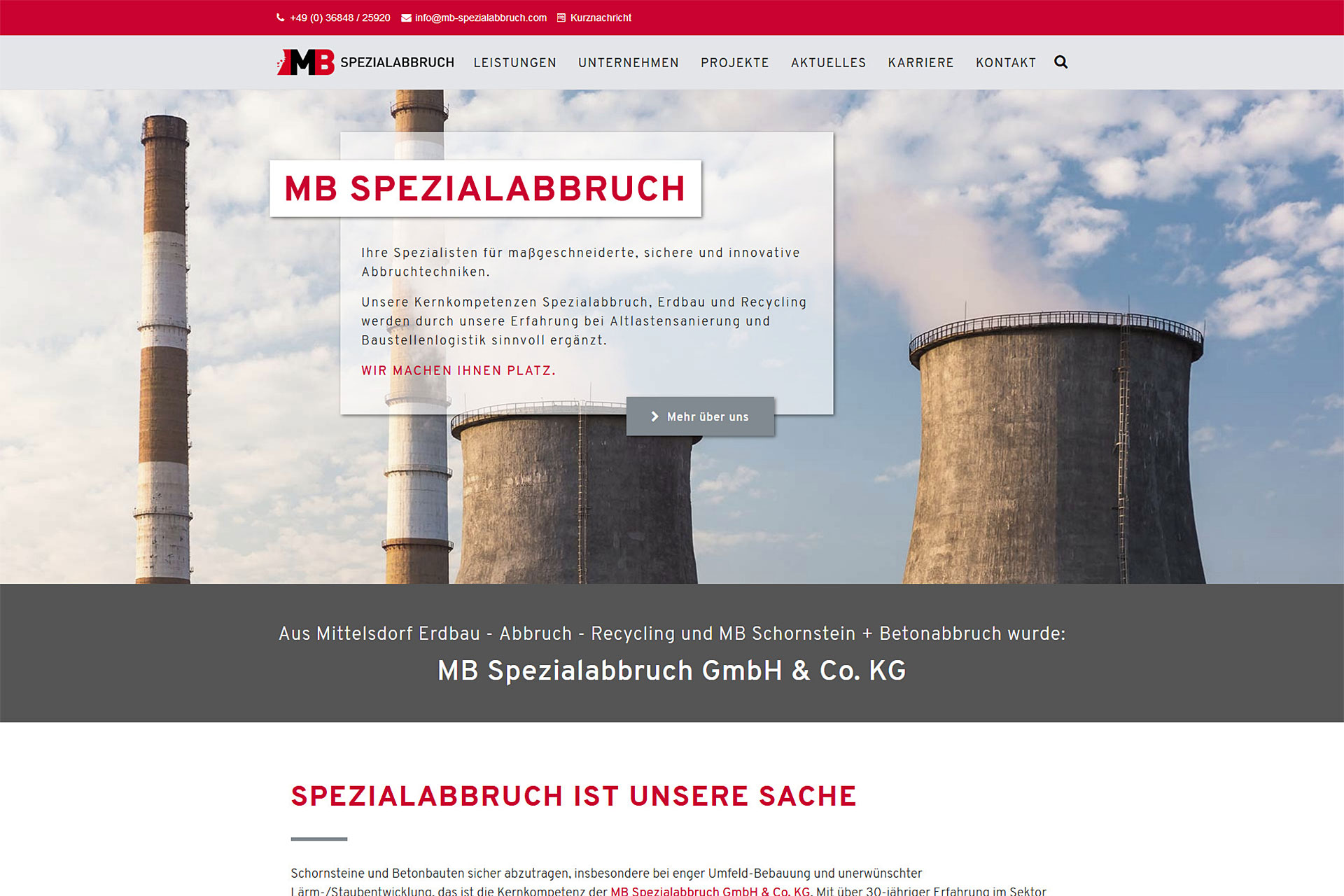 MB Spezialabbruch - Aktuelles: Die neue Website von MB Spezialabbruch