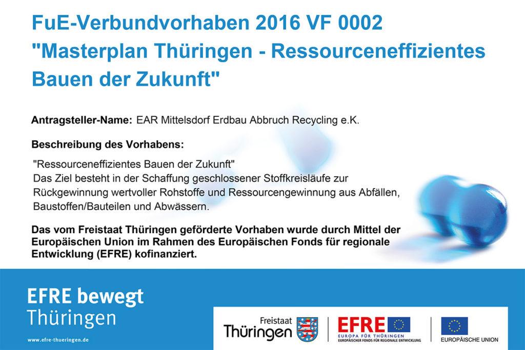 "EFRE-Plakat zum Forschungsprojekt ""Masterplan Thüringen"""